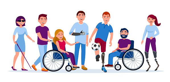 Disabled People With Disabilities And Prosthesis Blind ...