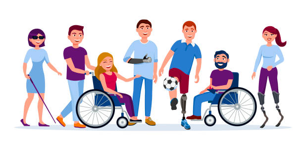 ilustrações de stock, clip art, desenhos animados e ícones de disabled people with disabilities and prosthesis, blind woman, people on wheelchairs, high-tech running prosthetics, prosthetic hand vector flat illustration. men and women with incapability - handicapped