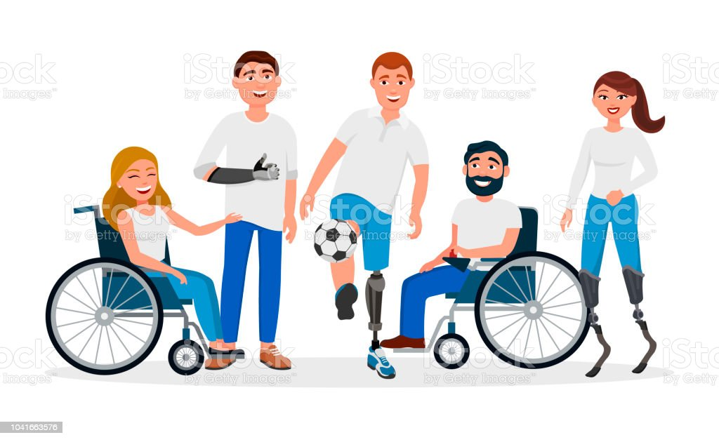 Disabled people with disabilities and prosthesis, people on wheelchairs, High-Tech Running Prosthetics, Prosthetic Hand vector flat illustration. Men and women with incapabilities Cartoon characters vector art illustration