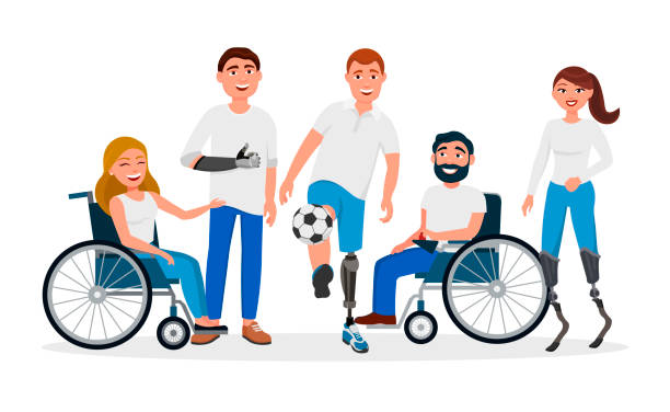 disabled people with disabilities and prosthesis, people on wheelchairs, high-tech running prosthetics, prosthetic hand vector flat illustration. men and women with incapabilities cartoon characters - wheelchair sports stock illustrations, clip art, cartoons, & icons