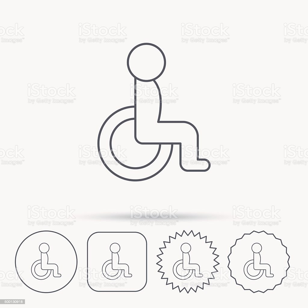 Disabled Person Icon Human On Wheelchair Sign Stock