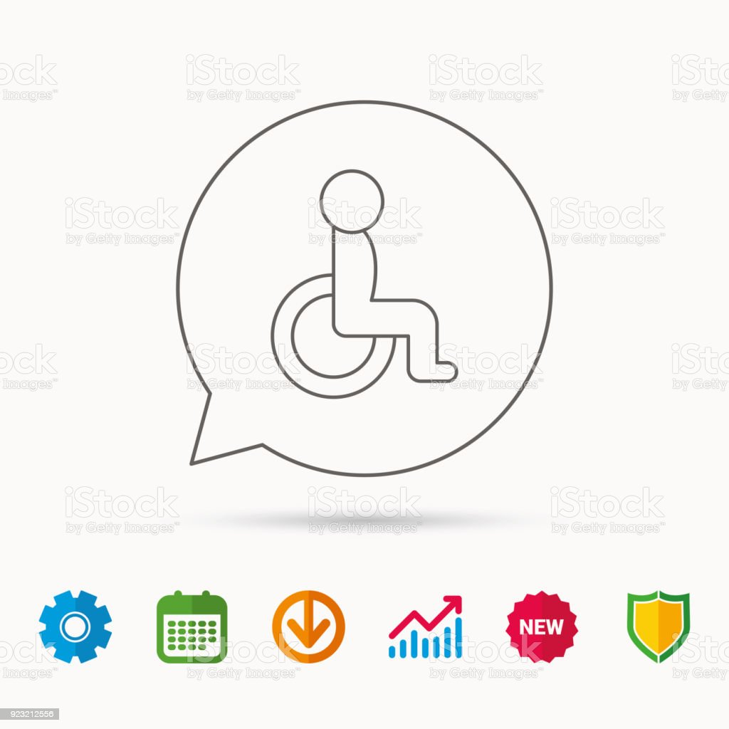 Disabled Person Icon Human On Wheelchair Sign Stock Vector Art