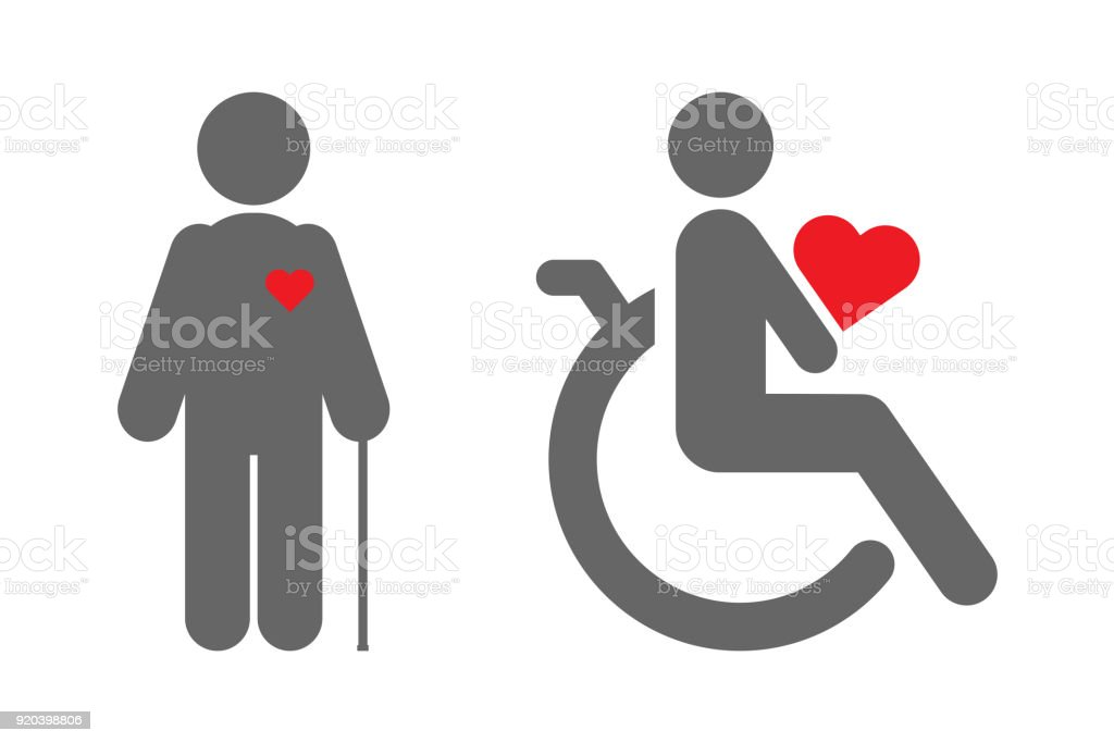 Disabled Person In Wheelchair And Old Man With Walking Stick Vector ...