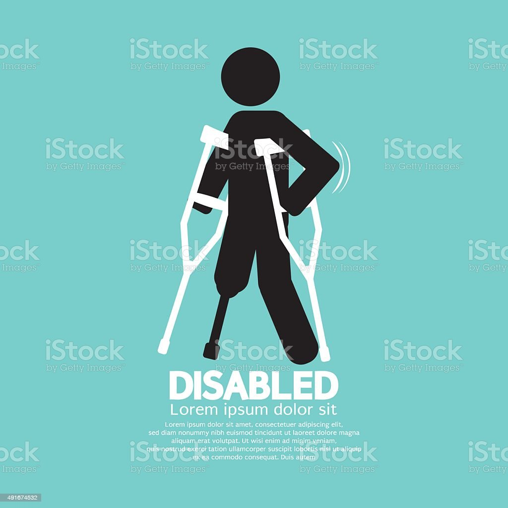 Disabled Person With Crutch Black Symbol. vector art illustration