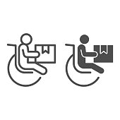 Disabled person with parcel box line and solid icon, delivery service symbol, human figure in wheelchair with package vector sign on white background, Handicapped customer icon in outline style