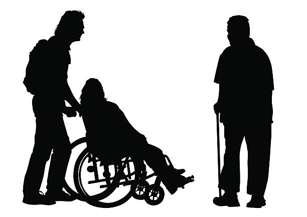 disabled person2 - old man sitting chair silhouettes stock illustrations, clip art, cartoons, & icons