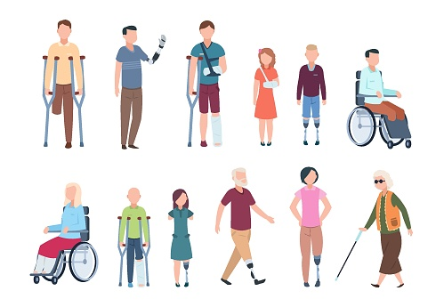 Disabled persons. Diverse injured people in wheelchair, elderly, adult and children patients. Handicapped characters set