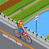 Disabled person with injured arm and backpack on bicycle going over bridge across river isometric vector illustration