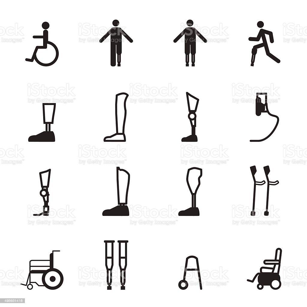 disabled prosthesis icon set vector art illustration