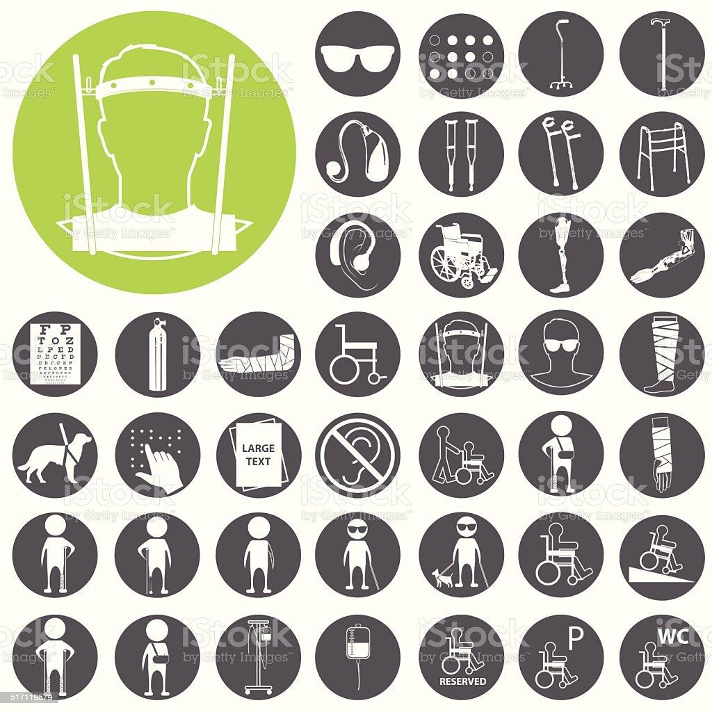 Barrierefreie mit Vektor-icons set.  Vektor-Illustration eps10 – Vektorgrafik