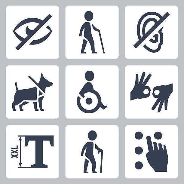 illustrazioni stock, clip art, cartoni animati e icone di tendenza di disabilitato releated set di icone vettoriali - sordità