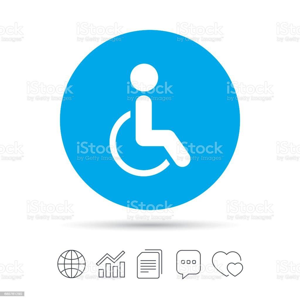 Disabled sign icon. Human on wheelchair symbol. disabled sign icon human on wheelchair symbol - stockowe grafiki wektorowe i więcej obrazów akta royalty-free