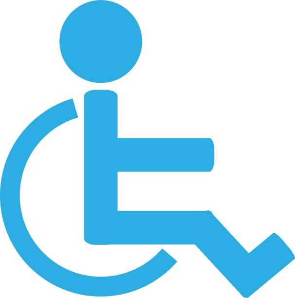 Icono de signo de movilidad. Icono no válido. Humanos en silla de ruedas. - ilustración de arte vectorial