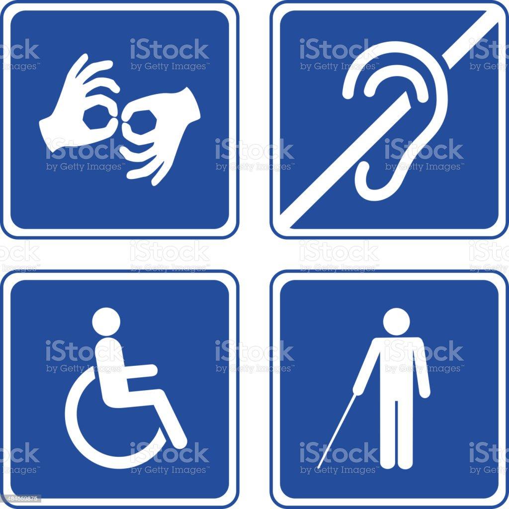 Disabled signs vector art illustration