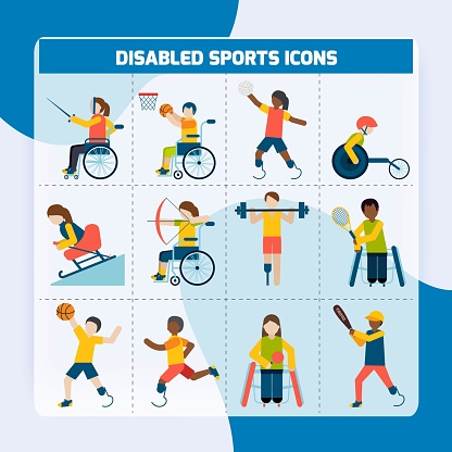 Disabled sports design concept with handicapped people playing football fencing cycling icons set isolated vector