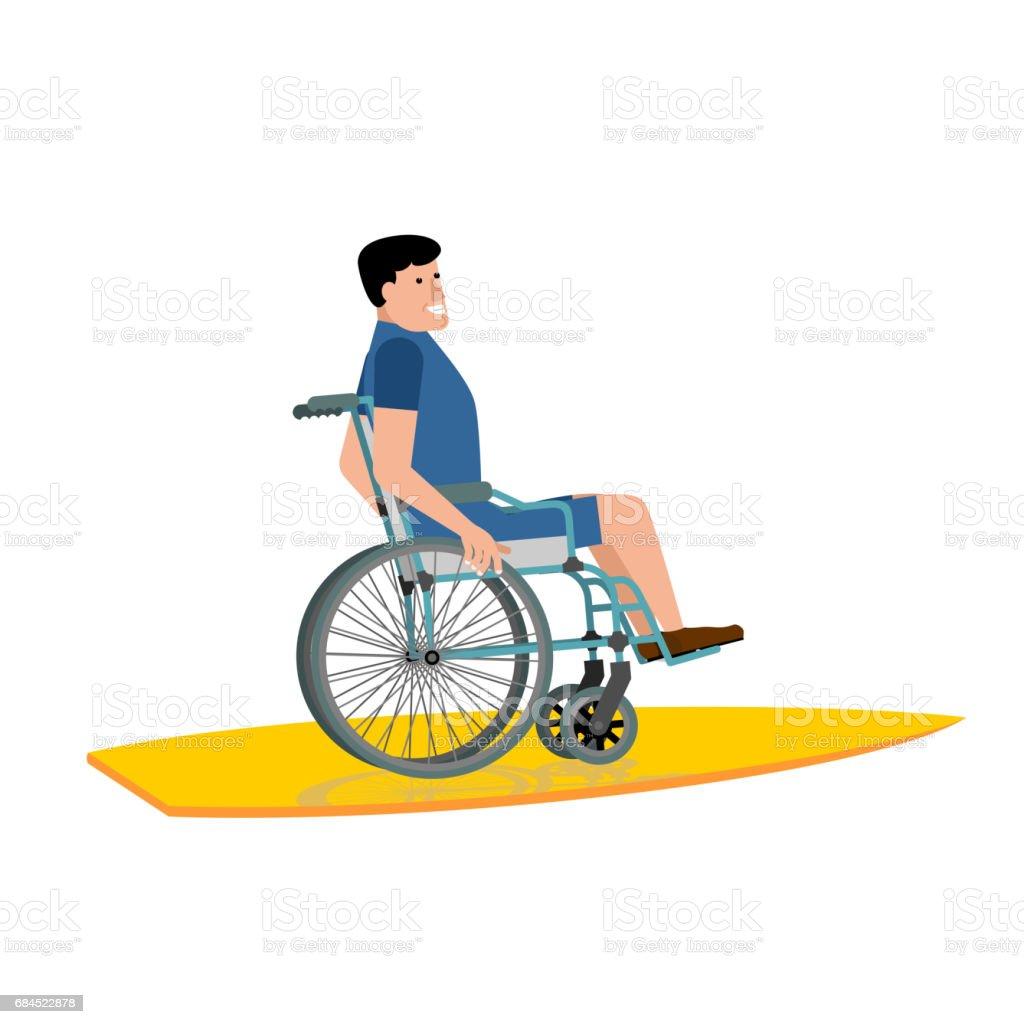 Disabled surfer. Wheelchair on surfboard on white background vector art illustration