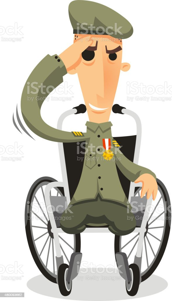 royalty free army man in wheelchair clip art vector images rh istockphoto com army clip art pictures army clipart vehicles