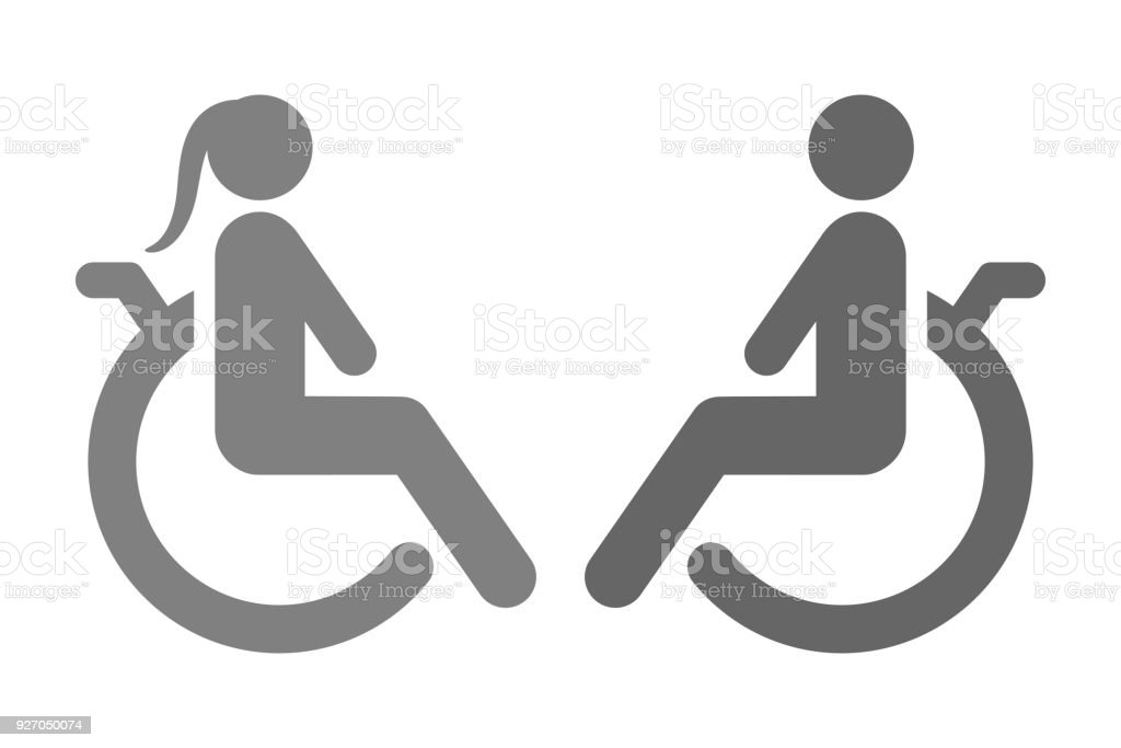 Disabled Woman And Handicapped Man Seating On Wheelchair Vector Icon