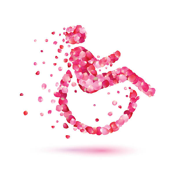 disabled woman icon of rose petals - wheelchair sports stock illustrations, clip art, cartoons, & icons