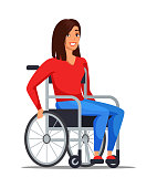 istock Disabled woman on wheelchair isolated on white 1195448477