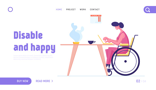 Disabled Woman on Wheelchair Working on Laptop Landing Page Template. Handicapped Female Character Freelance Worker Earning Money in Internet from Home, Online Income. Cartoon Vector Illustration