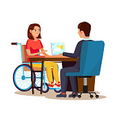 Disabled Woman Vector. Equal Opportunities Concept. leading Happy Life. Cartoon Character Illustration