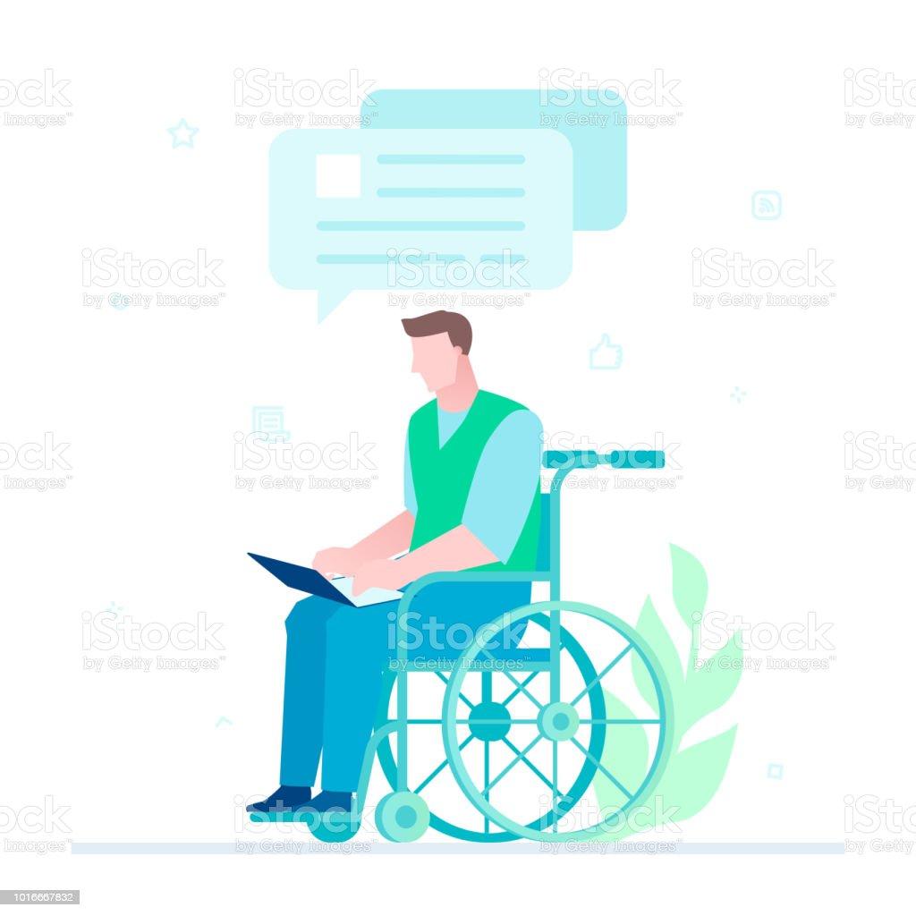 Travailleur handicapé le chat - illustration de style design plat - Illustration vectorielle