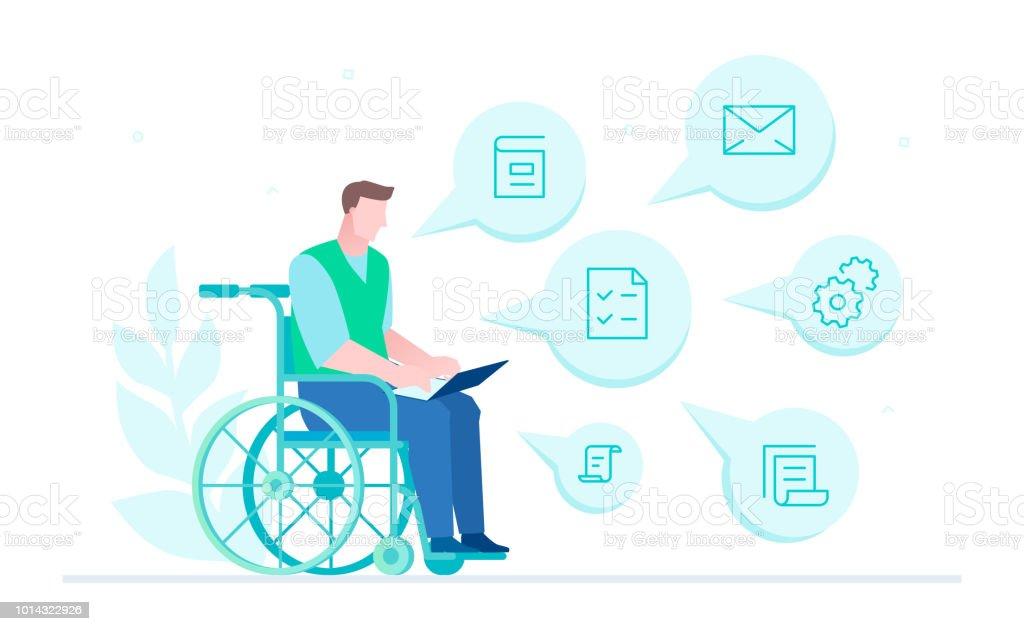 Behinderten Arbeitnehmers - flachen Design-Stil-Darstellung – Vektorgrafik