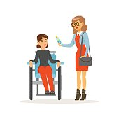 Disabled young woman in wheelchair, smiling female friend or volunteer helping her, healthcare assistance and accessibility colorful vector Illustration on a white background