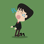 disappointed businessman crying