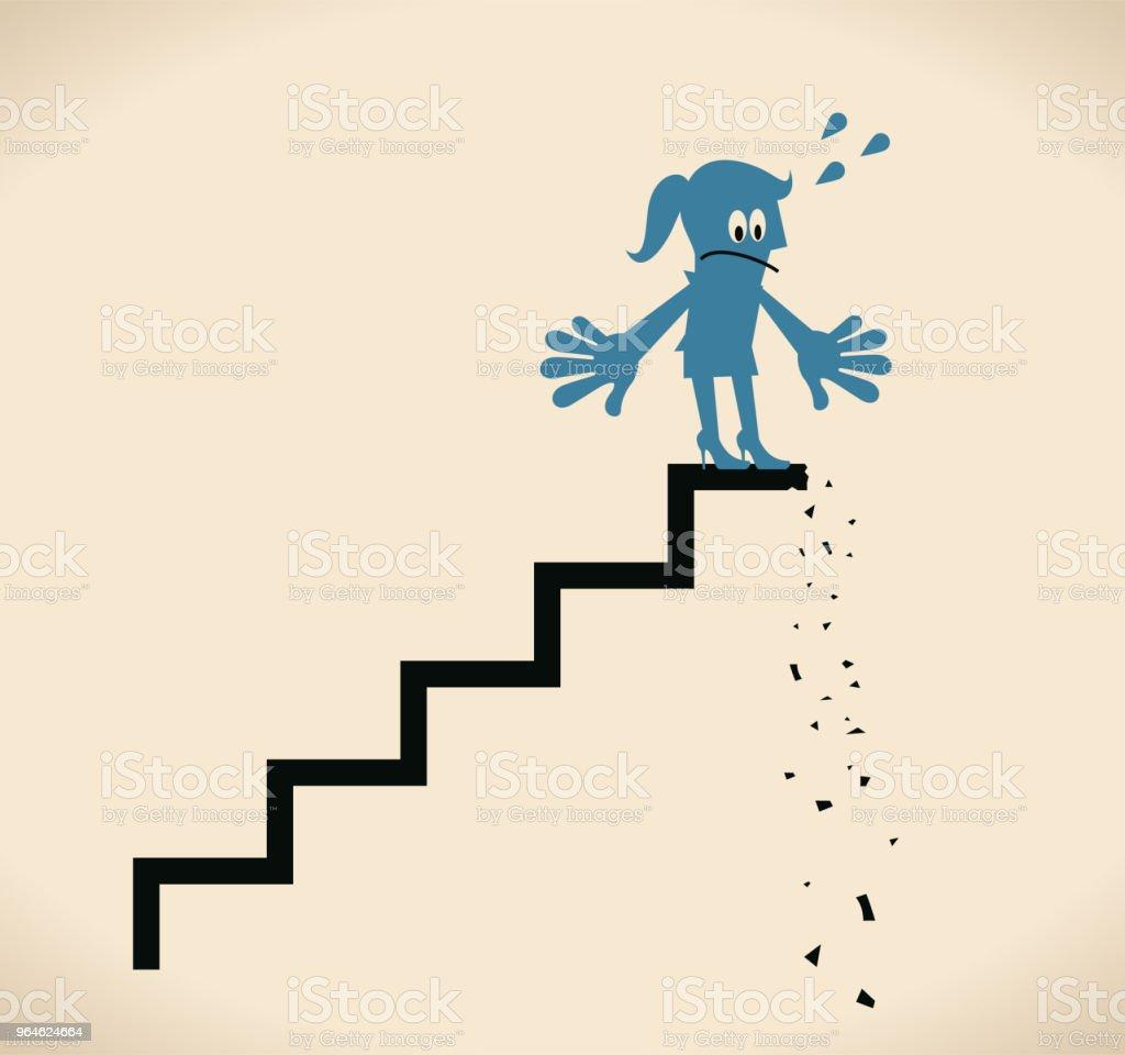 壊れたステップの上に立って失望...