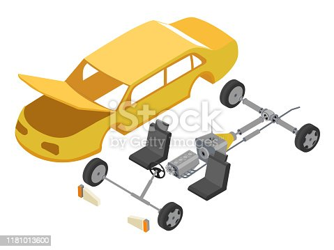 Disassembled car isometric vector illustration. Automobile shell and internal parts. Engine, chairs, wheels and headlights composition. Auto maintenance service, transport repair workshop concept