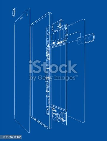 Disassembled smartphone concept outline. Vector rendering of 3d. Wire-frame style. The layers of visible and invisible lines are separated