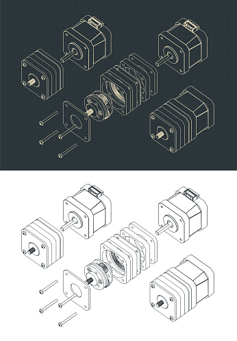 Disassembled Stepper Motor with Planetary Gearbox Drawings
