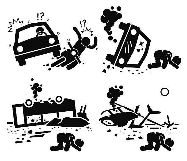 bildbanksillustrationer, clip art samt tecknat material och ikoner med disaster accident traged car motorcycle bus helicopter - krockad bil