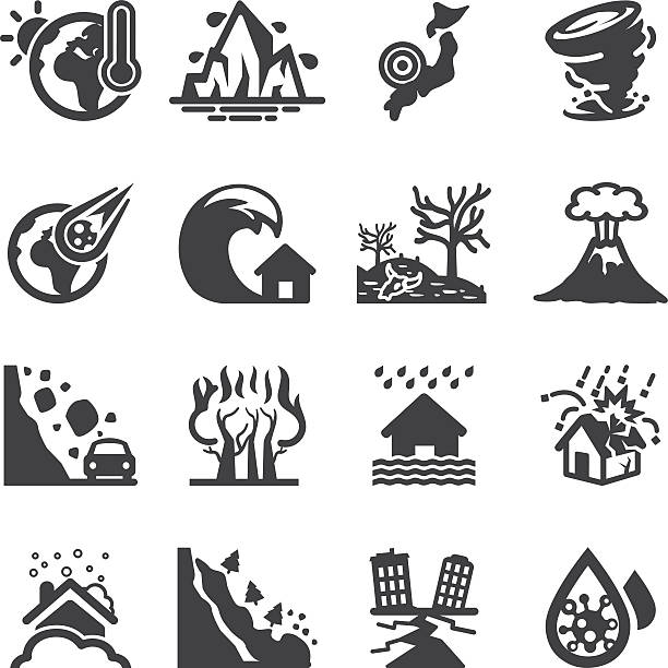stockillustraties, clipart, cartoons en iconen met disaster accidents silhouette icons | eps10 - bosbrand