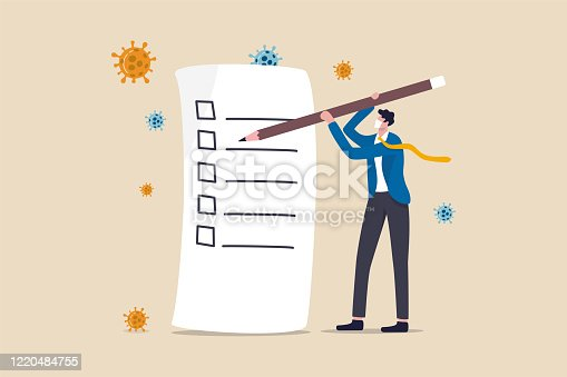istock Disaster and crisis management, COVID-19 Coronavirus business plan for pandemic crisis, to do list or new normal post pandemic concept, businessman holding pencil writing check list, virus pathogen. 1220484755