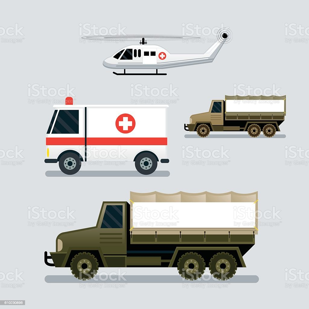Disaster Assistance Response Vehicles, Side View vector art illustration