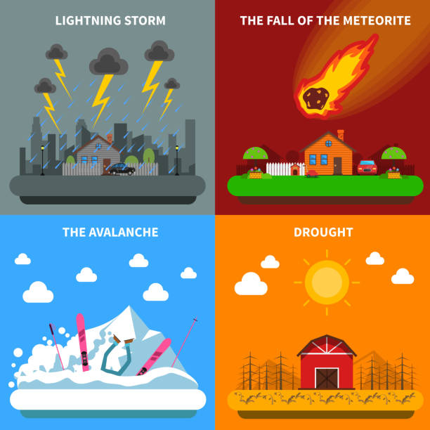 disaster concept Natural disaster concept 4 flat icons square composition banner with meteorite and drought abstract isolated vector illustration avalanche stock illustrations