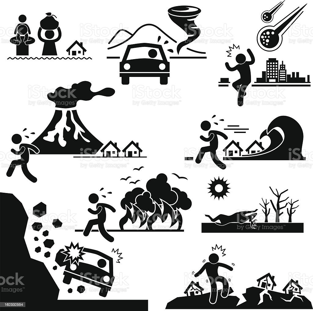 Disaster Doomsday Catastrophe Pictogram royalty-free disaster doomsday catastrophe pictogram stock vector art & more images of accidents and disasters