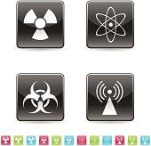 Vector glossy icons - radioactive, biohazard, nuclear fusion, radio-waves