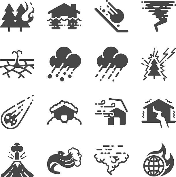 Disaster icons set Disaster icons set hailstorm stock illustrations