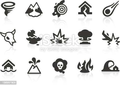 Monochromatic disaster and catastrophe related vector icons for your design and application. Raw style. Files included: vector EPS, JPG, PNG.