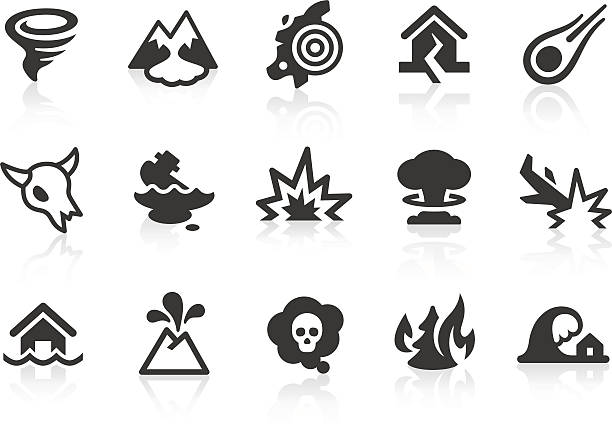 Disaster icons Monochromatic disaster and catastrophe related vector icons for your design and application. Raw style. Files included: vector EPS, JPG, PNG. avalanche stock illustrations
