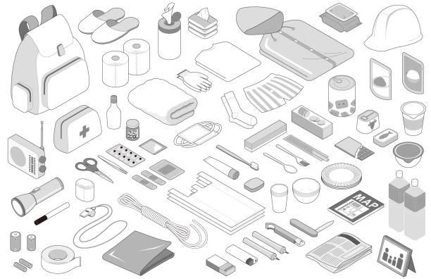 notfall prävention waren, isoliert auf weißem hintergrund. - plastikteller stock-grafiken, -clipart, -cartoons und -symbole