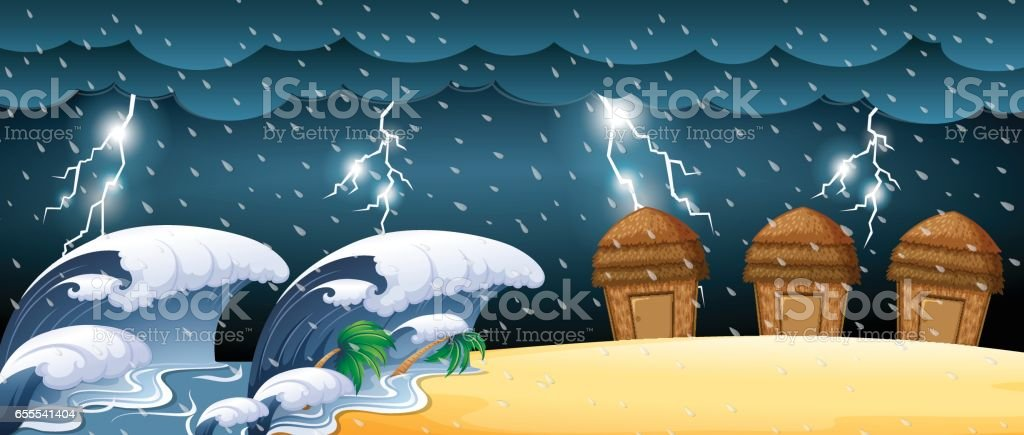 Disaster scene with tsunami and thunderstorms illustration