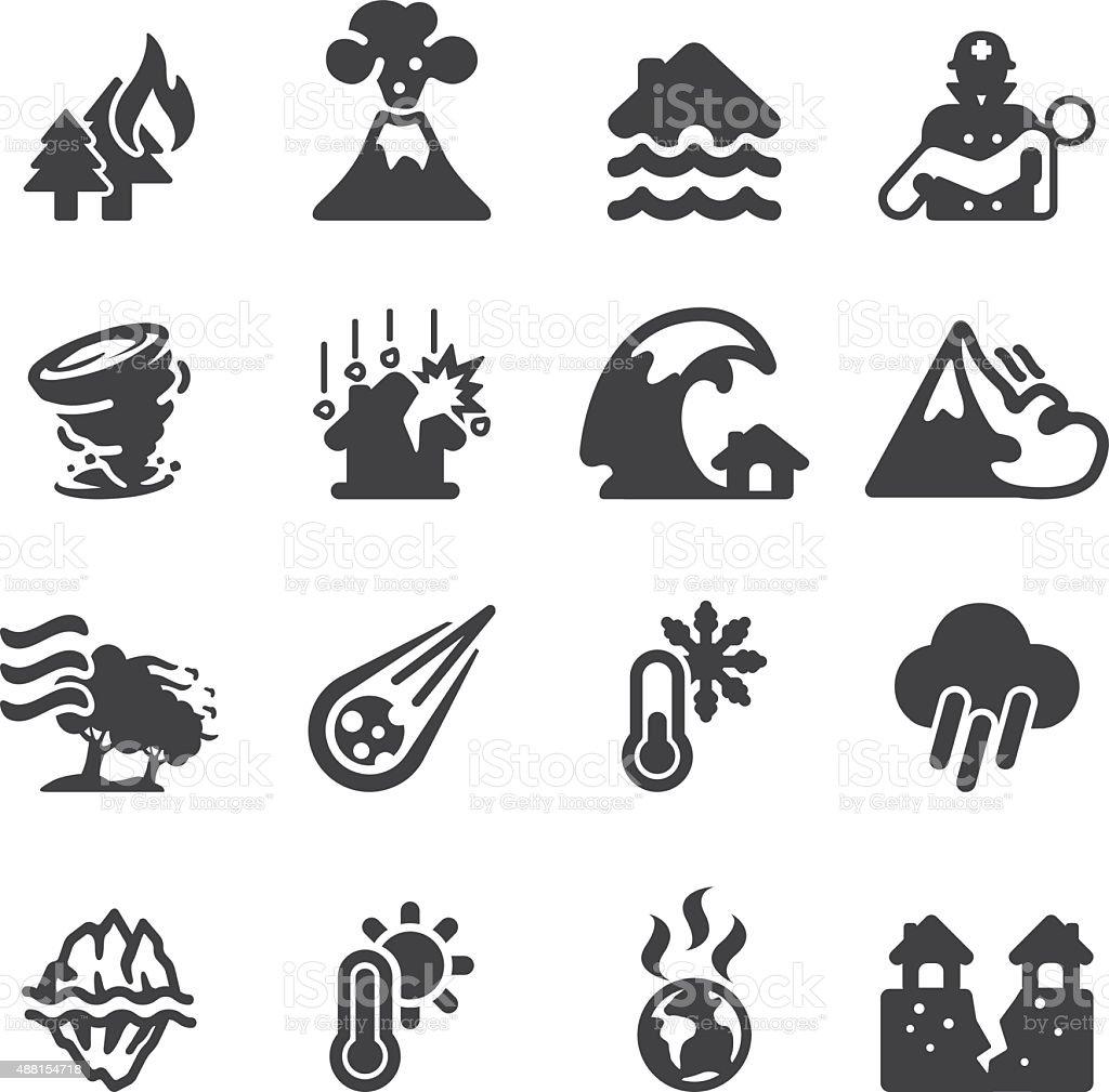 Disaster Silhouette icons | EPS10 vector art illustration
