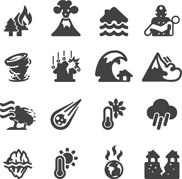 Disaster Silhouette icons | EPS10 Disaster Silhouette icons  avalanche stock illustrations