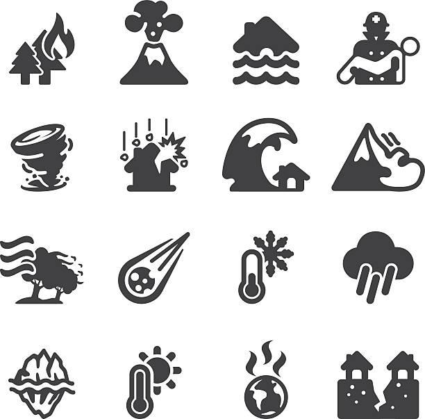 illustrazioni stock, clip art, cartoni animati e icone di tendenza di disastro eps10 silhouette icone / - grandine vector
