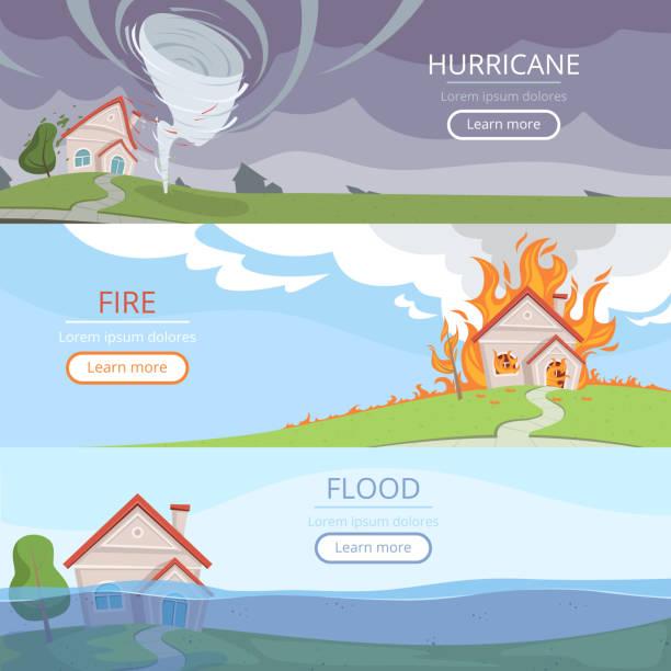 illustrations, cliparts, dessins animés et icônes de des bannières météorologiques de catastrophe. tempête de vent de volcan de tsunami dommages de maison de pluie des images vectorielles d'éclaircissement avec la place pour le texte - desastre natural